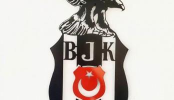 Renkli Beşiktaş Kartal Lazer Kesim Metal Tablo