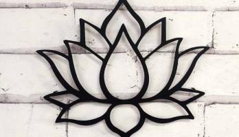 Lotus Çiçeği Lazer Kesim Metal Tablo
