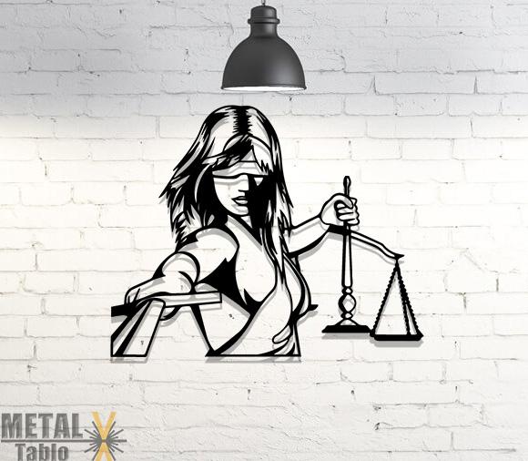 Adalet Sembolü 2 Lazer Kesim Metal Tablo