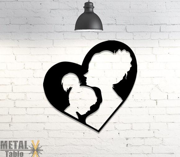 Anne ve Kız Çocuğu Lazer Kesim Metal Tablo