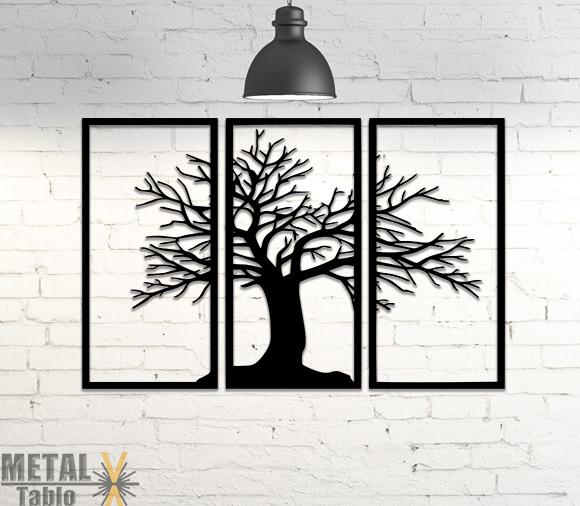 3 Parça Çınar Ağacı Metal Tablo