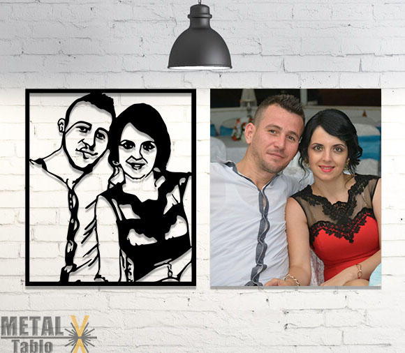Evli Çiftlere Özel Lazer Kesim Metal Tablolar