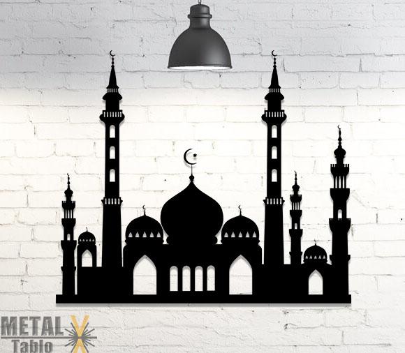 Cami Motifli İslami Metal Tablo