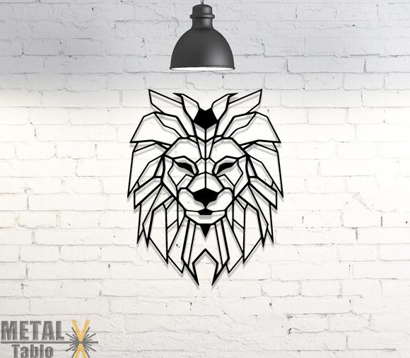 Geometrik Arslan Başı Lazer Kesim Metal Tablo