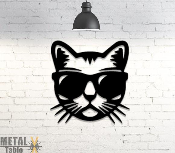 Gözlüklü Kedi Lazer Kesim Metal Tablo
