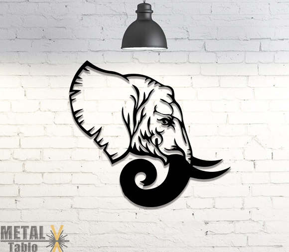 Fil Başı Lazer Kesim Metal Tablo Dekor