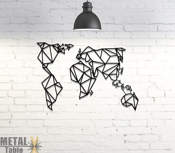 Geometrik Dünya Haritası Lazer Kesim Metal Tablo