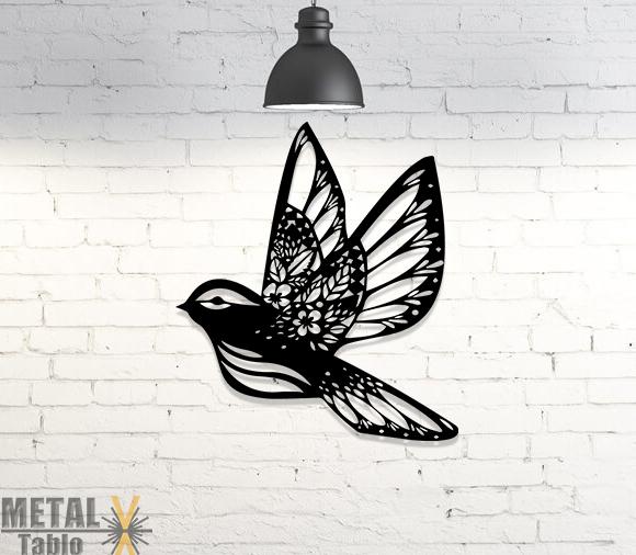 Çiçek Desenli Kuş Lazer Kesim Metal Tablo