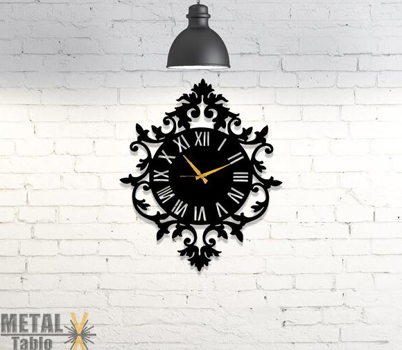Çerçeveli Roma Rakamlı Metal Duvar Saati