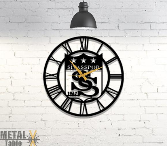 Sivasspor Lazer Kesim Metal Duvar Saati