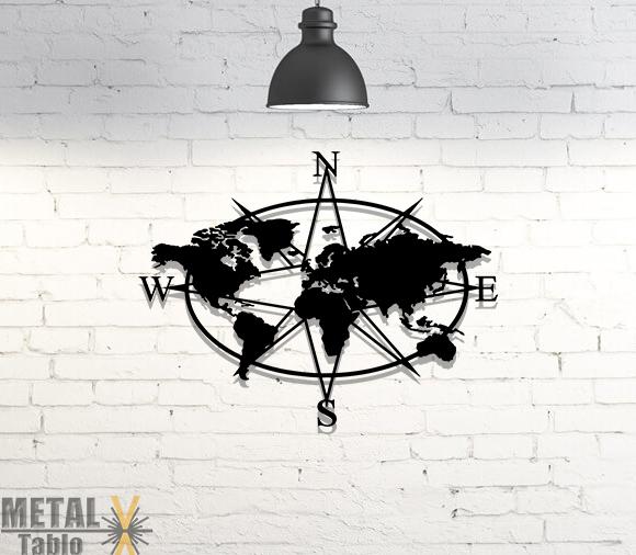 Elips Pusula Dünya Haritası Metal Tablo