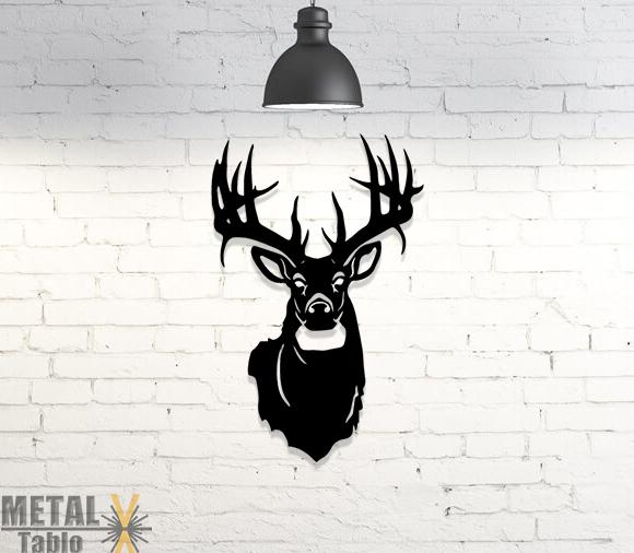 Geyik Başı Metal Tablo Lazer Kesim Duvar Dekoru