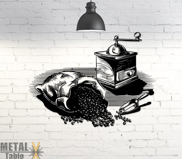Kahve Değirmeni ve Çekirdekleri Metal Tablo