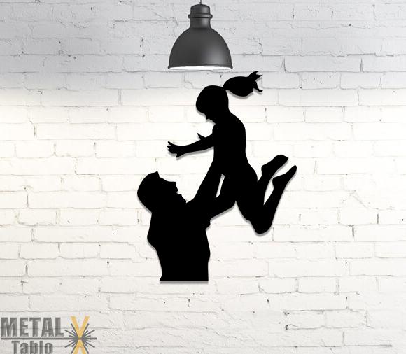 Baba ve Kızı Lazer Kesim Metal Tablo