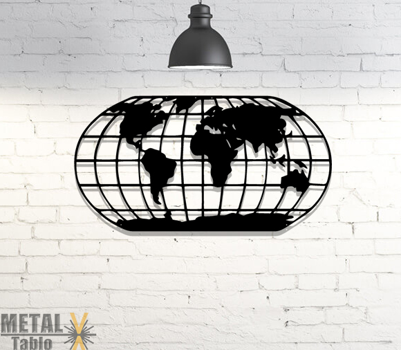 Elips Dünya Haritası Lazer Kesim Metal Tablo