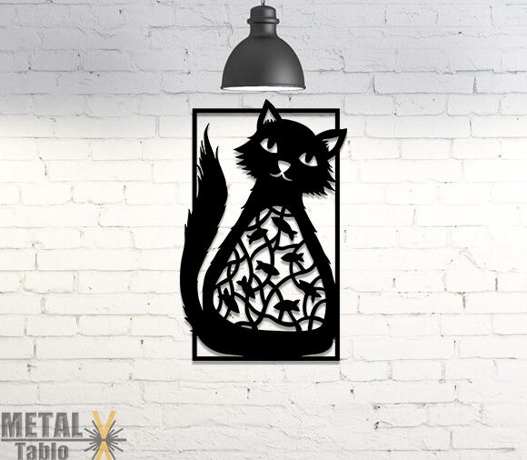 Karnı Balık Dolu Kedi Metal Tablo
