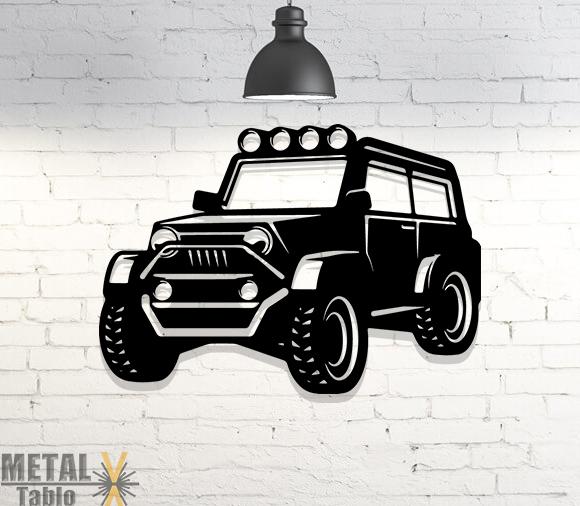 Jeep Araba Lazer Kesim Metal Tablo