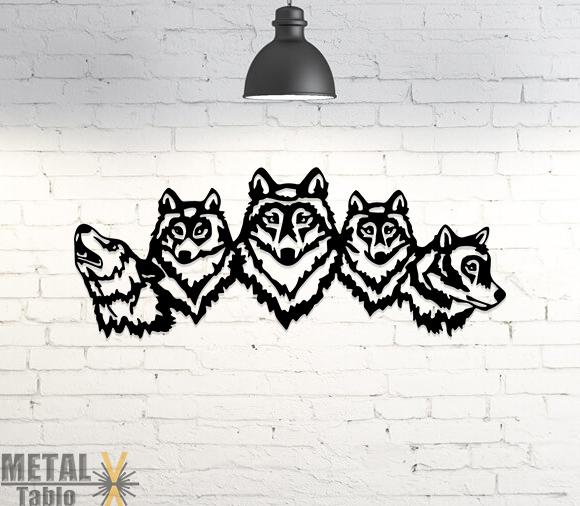 Beşli Kurt Kafası Lazer Kesim Metal Tablo