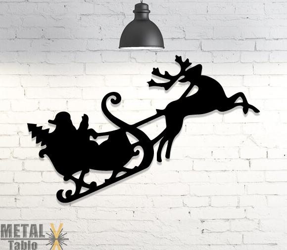 Noel Baba Kızağı ve Geyik Metal Tablo