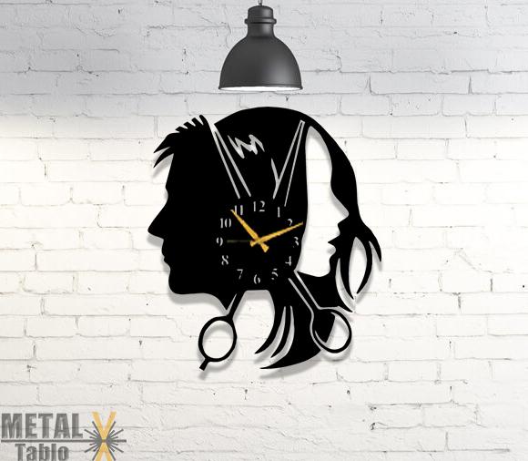 Bay ve Bayan Kuaförlerine Özel Tasarım Metal Duvar Saati