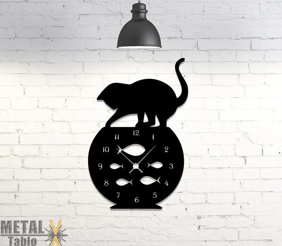 Kedi Akvaryum Metal Lazer Kesim Duvar Saati