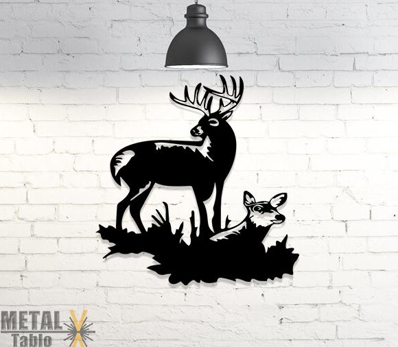 Eşli Geyik Metal Duvar Dekoru Lazer Kesim