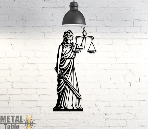 Hukukçulara Özel Adalet Tanrıçası Metal Tablo