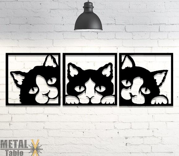 Üç Kafalı Kedi Lazer Kesim Metal Tablo