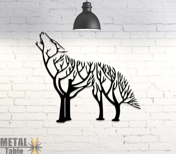 Kuru Ağaç Kurt Lazer Kesim Metal Tablo