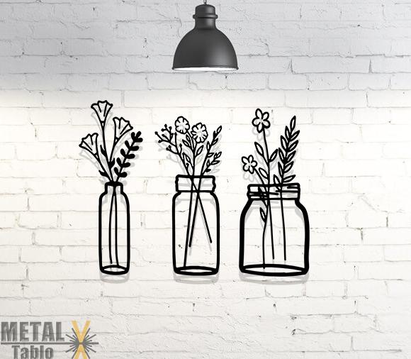 Üç Parça Vazo Çiçekler Lazer Kesim Metal Tablo
