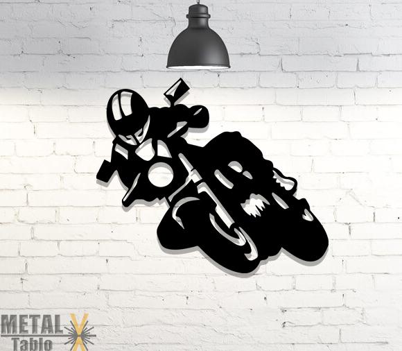 Motosiklet Yarışçısı Lazer Kesim Metal Tablo