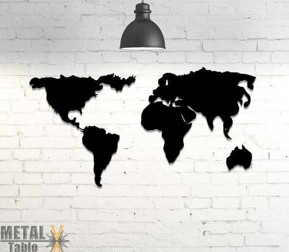3 Parça Dünya Haritası Lazer Kesim Metal Tablo