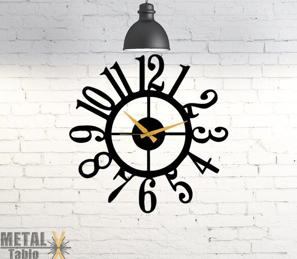Büyük Rakamlı Yuvarlak Metal Duvar Saati