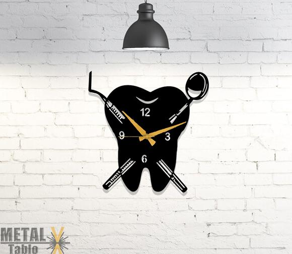 Diş Kliniklerine Özel Tasarım Metal Diş Saat
