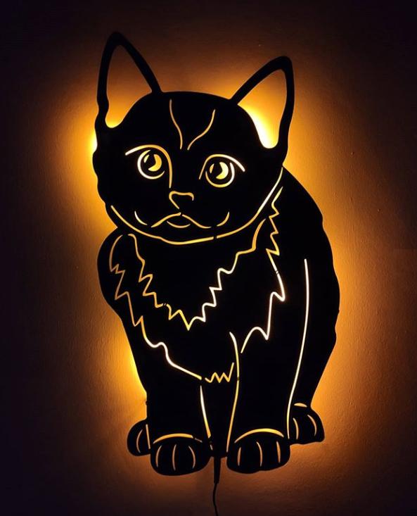 Kedi Yavrusu Ledli Metal Tablo Gece Lambası
