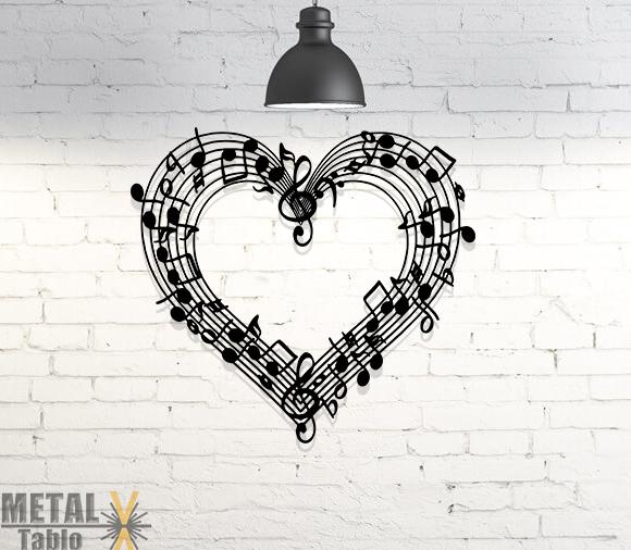 Kalp Notalar Müzik Metal Duvar Dekoru