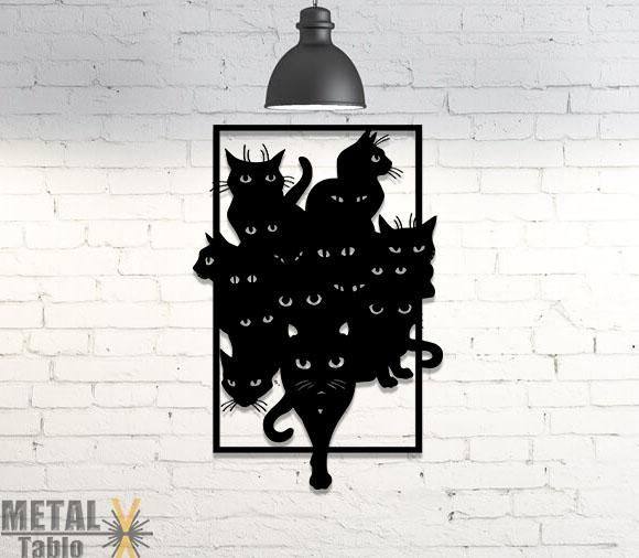Kara Kediler Lazer Kesim Metal Tablo