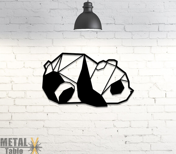 Geometrik Panda Metal Tablo