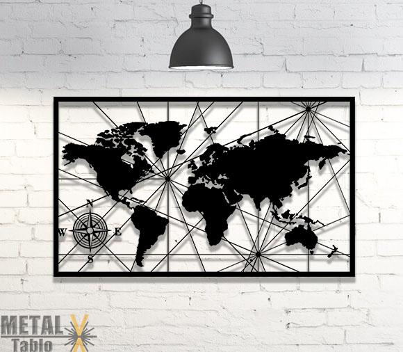 Dünya Haritası ve Pusula Metal Tablo