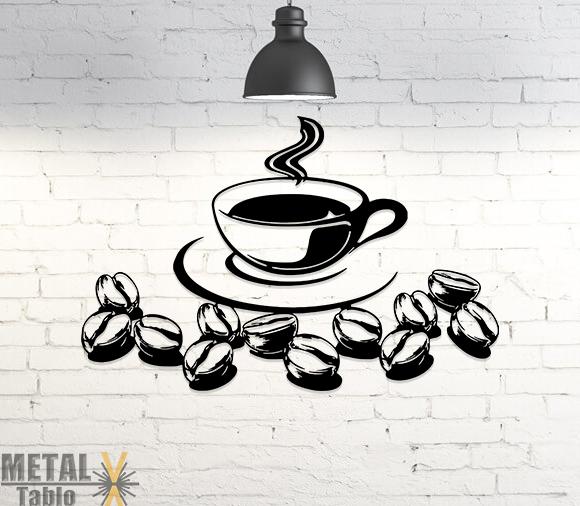 Kahve Bardağı ve Çekirdekleri Metal Tablo