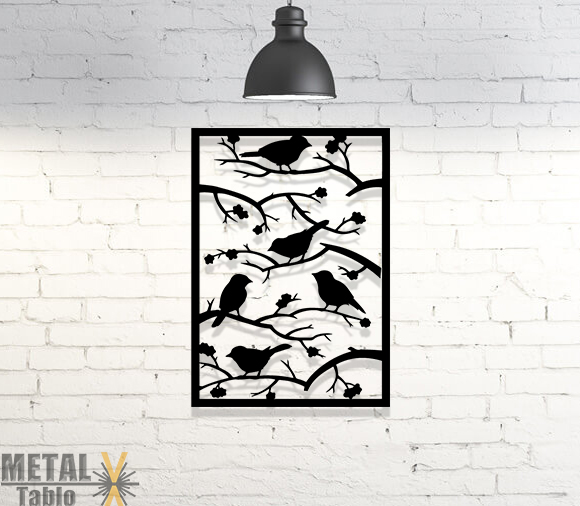 Ağaç Dalındaki Kuşlar Lazer Kesim Metal Tablo