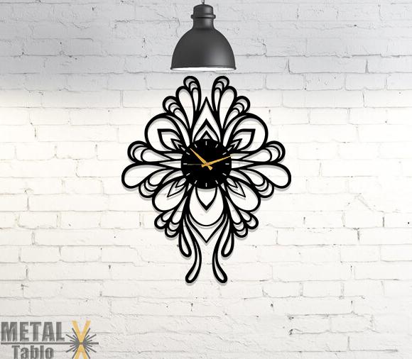 Motifli Özel Tasarım Metal Duvar Saati