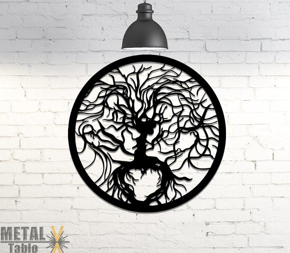 İnsan Yüzlü Ağaç Lazer Kesim Metal Tablo