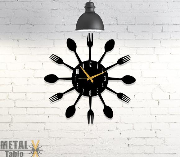 Mutfağa Özel Çatal Kaşık Metal Duvar Saati
