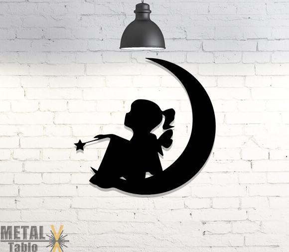 Ay ve Küçük Peri Kızı Lazer Kesim Metal Tablo