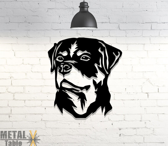 Rottweiler Köpek Lazer Kesim Metal Tablo