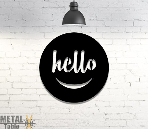 Hello Giriş Yazısı Metal Tablo