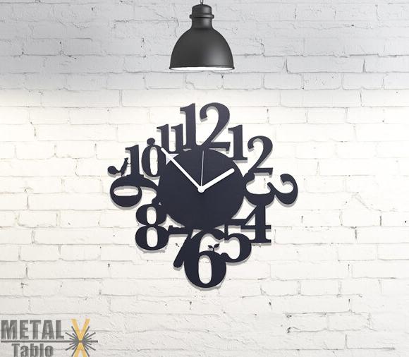 Karışık Sayılı Lazer Kesim Metal Duvar Saati