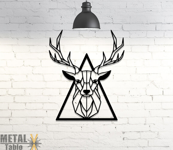 Üçgen Geyik Başı Metal Tablo