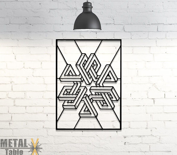 Tribal Geometrik Lazer Kesim Metal Tablo